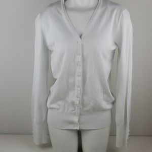 Cielo white  button down sweater size large